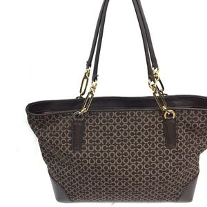 COACH Madison Op Art Needlepoint East West Tote